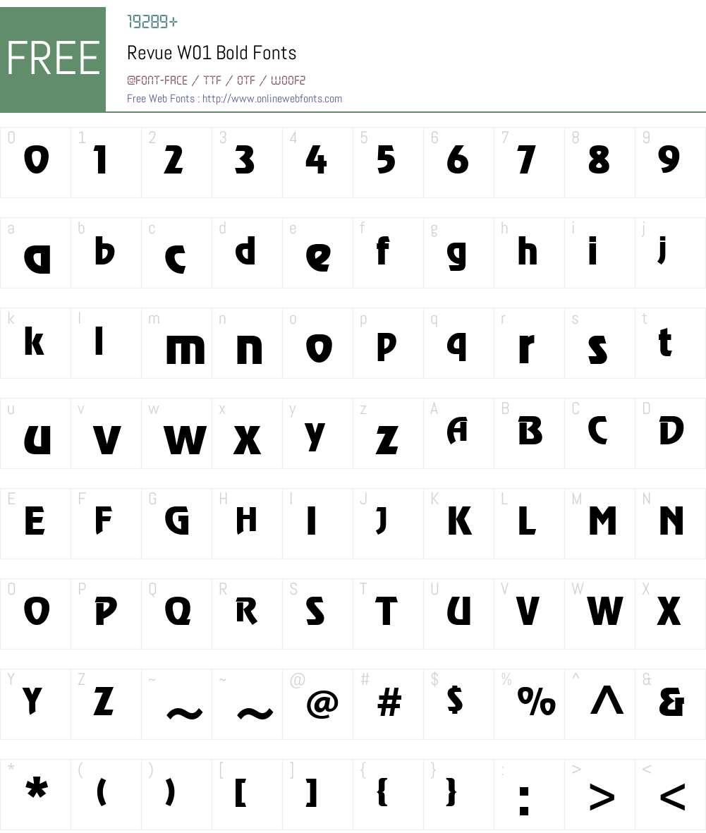 RevueW01-Bold Font Screenshots
