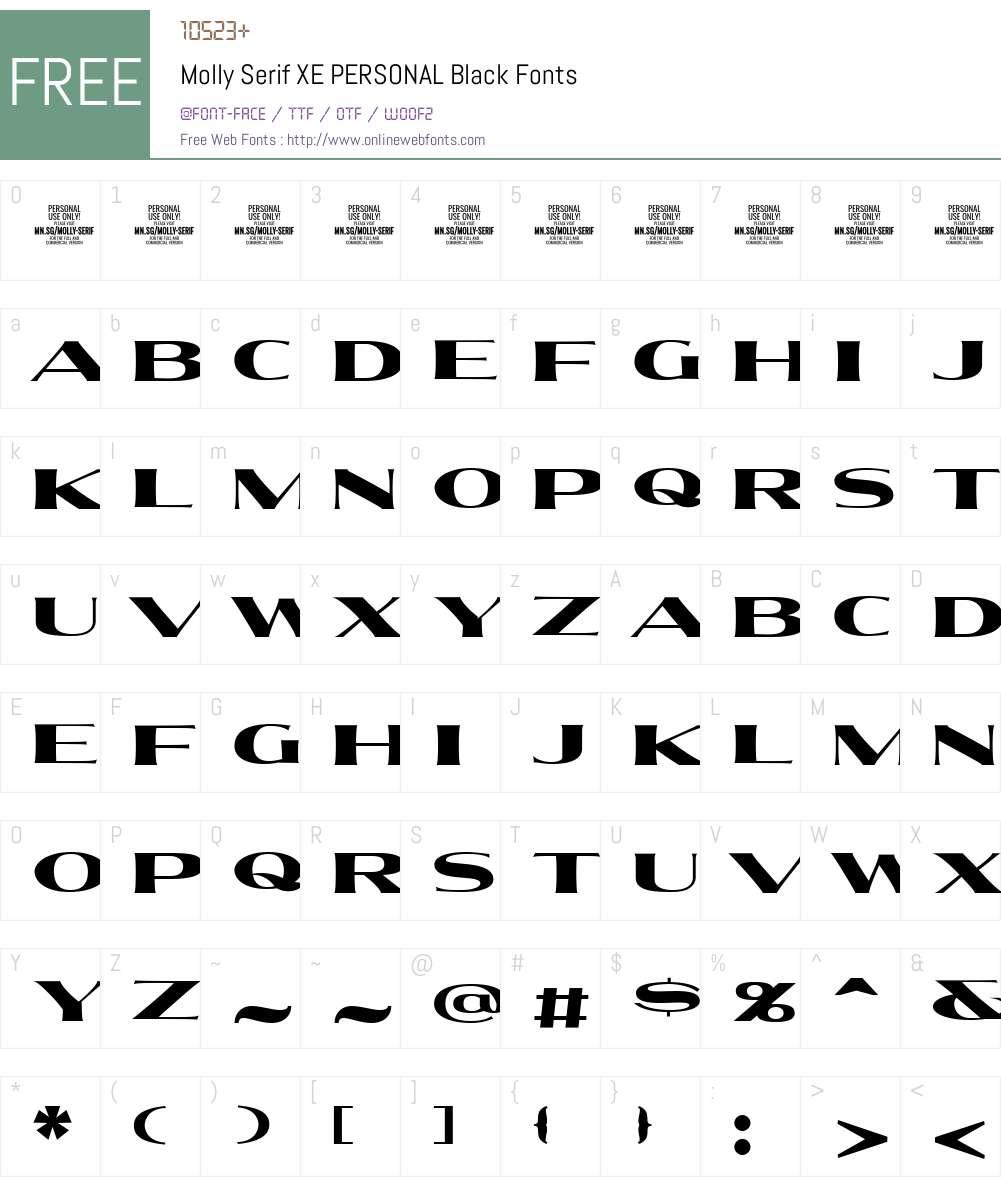 Molly Serif XE PERSONAL Font Screenshots