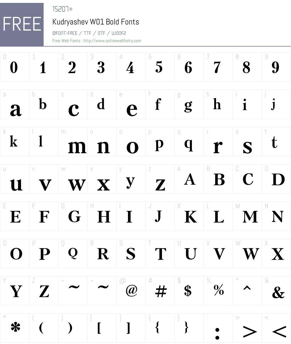 KudryashevW01-Bold Font Screenshots