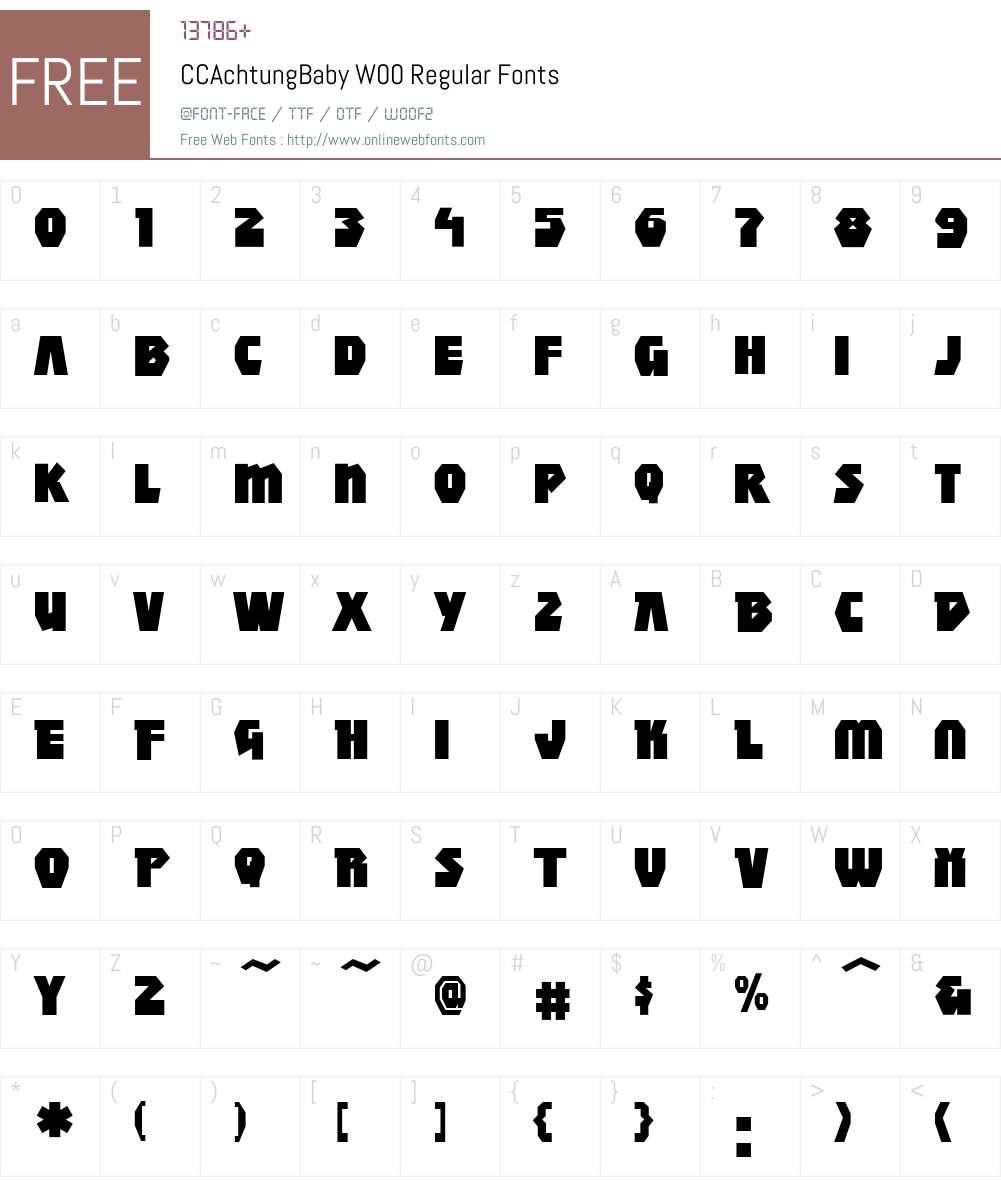 CCAchtungBabyW00-Regular Font Screenshots