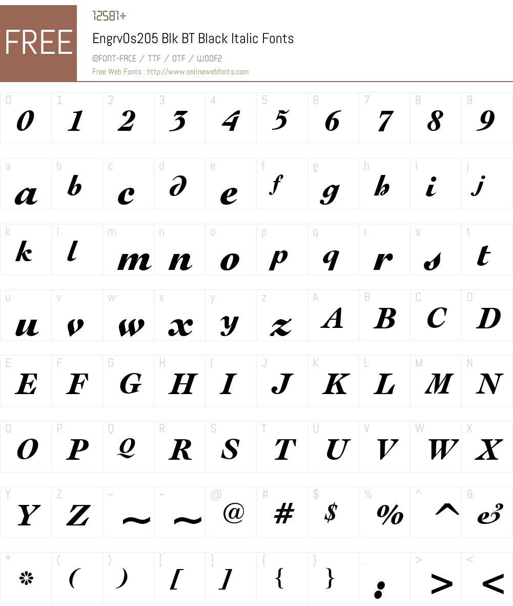 EngrvOs205 Blk BT Font Screenshots
