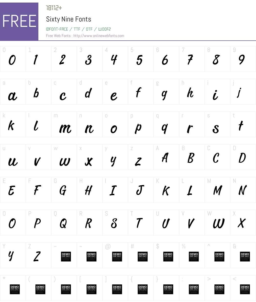 Sixty Nine - Demo Font Screenshots