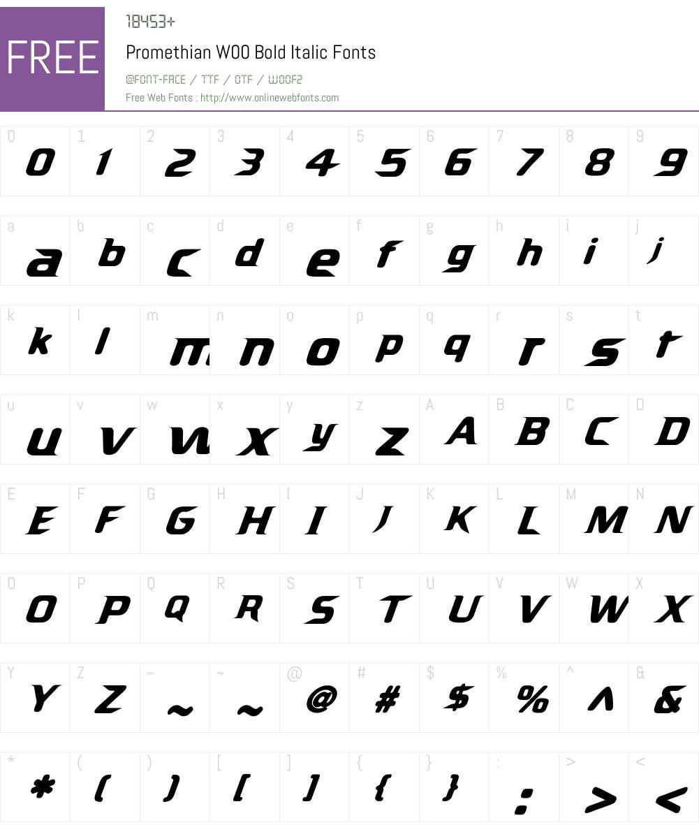 Promethian Bold Italic Font Screenshots