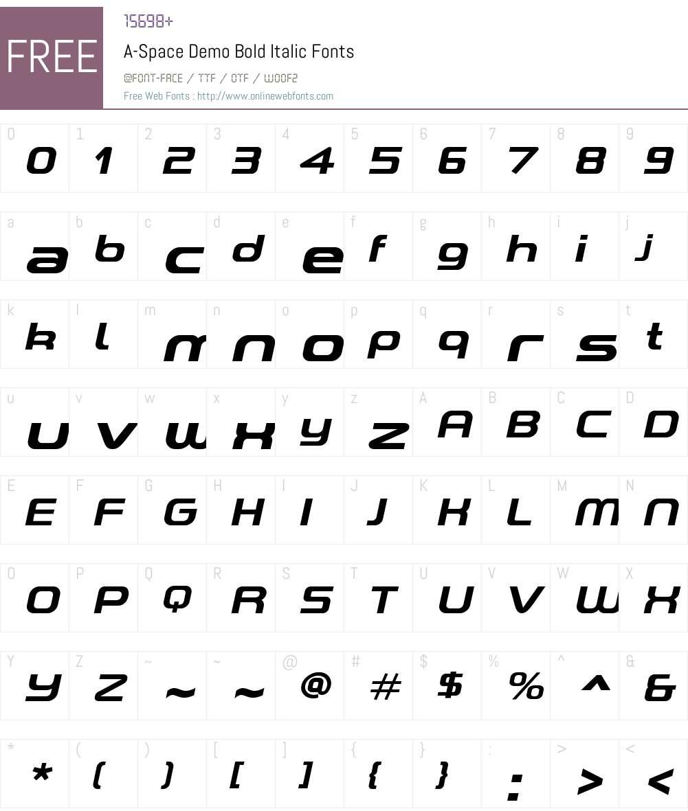 A-Space Demo Font Screenshots