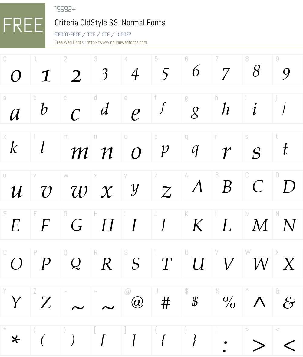 Criteria OldStyle SSi Font Screenshots