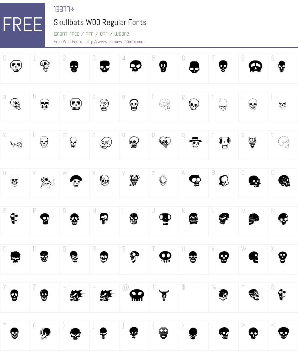 SkullbatsW00-Regular Font Screenshots