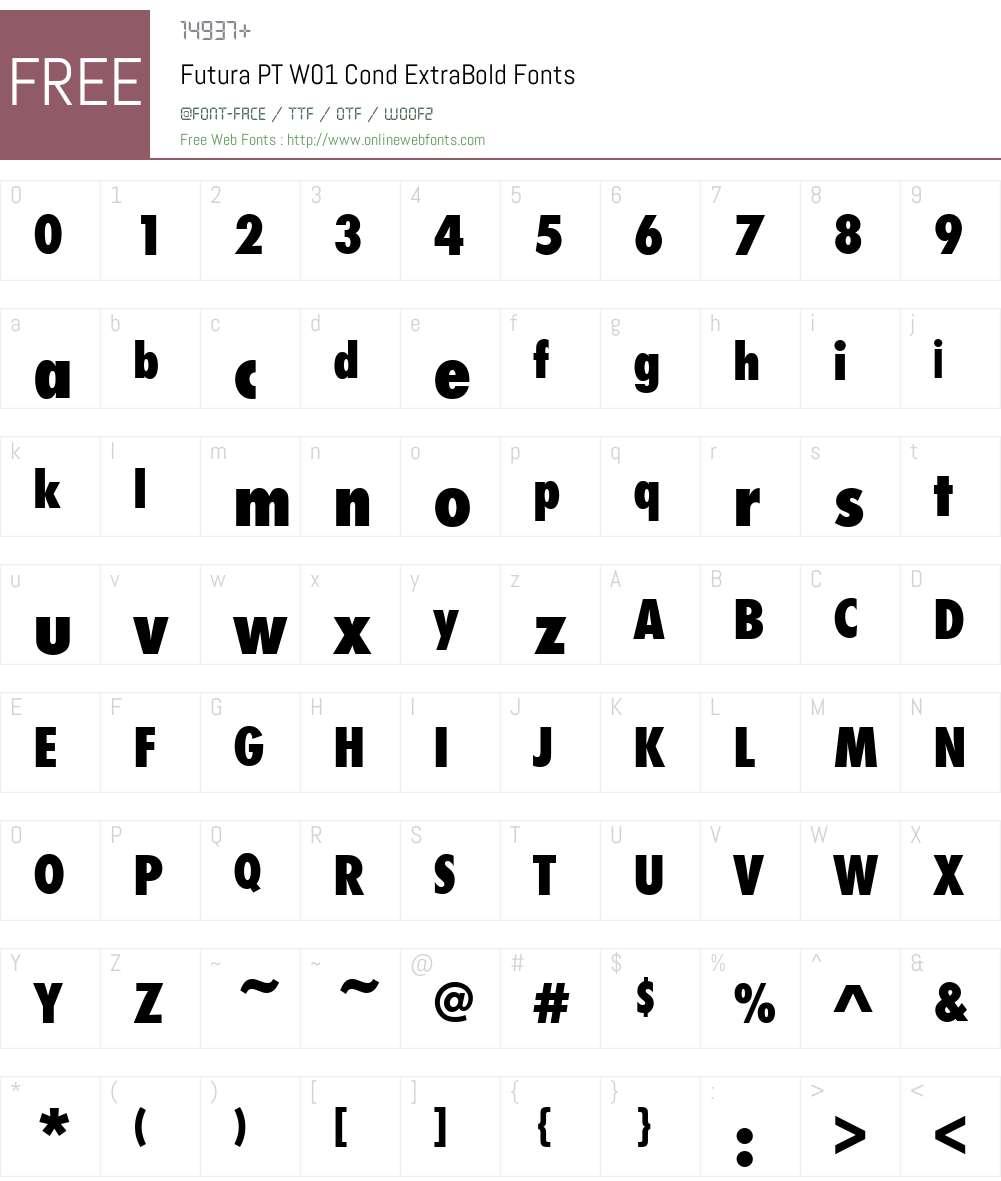 FuturaPTW01-CondExtraBold Font Screenshots