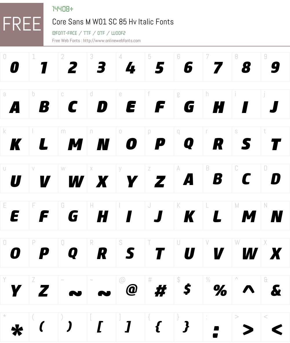 CoreSansMW01-SC85HvItalic Font Screenshots