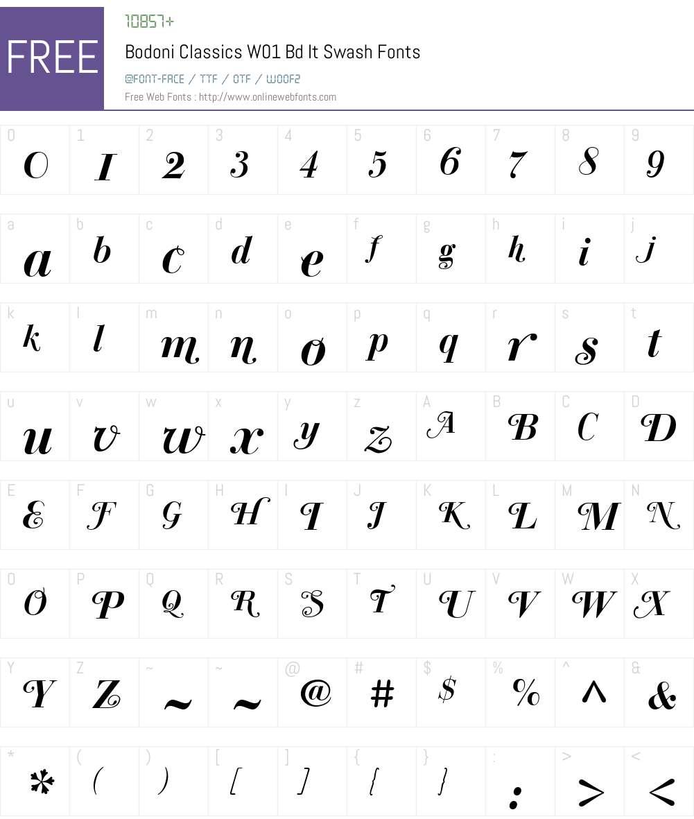 BodoniClassicsW01-BdItSwash Font Screenshots