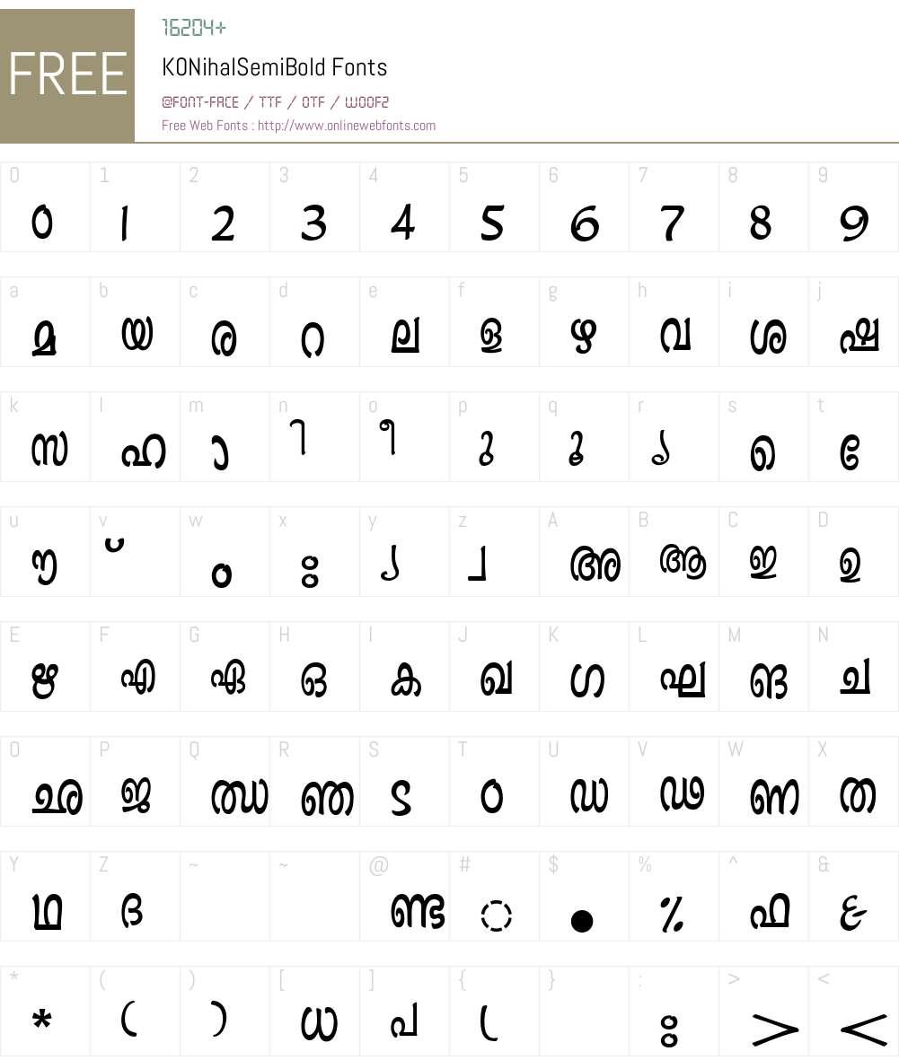 K0NihalSemiBold Font Screenshots
