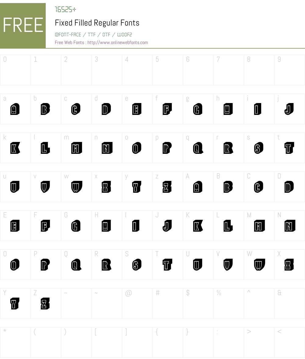 Fixed Filled Font Screenshots