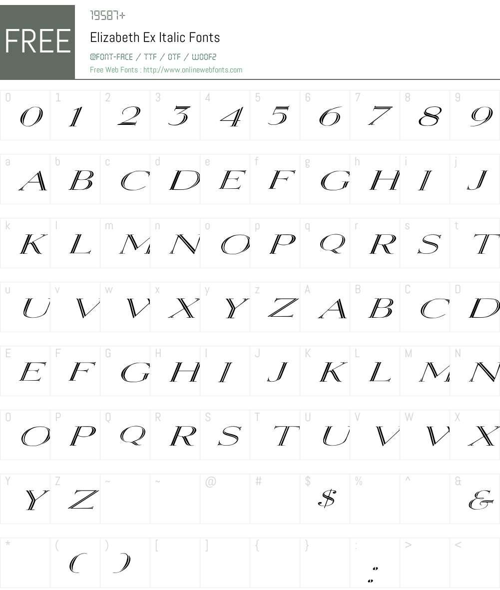 Elizabeth Ex Italic Font Screenshots