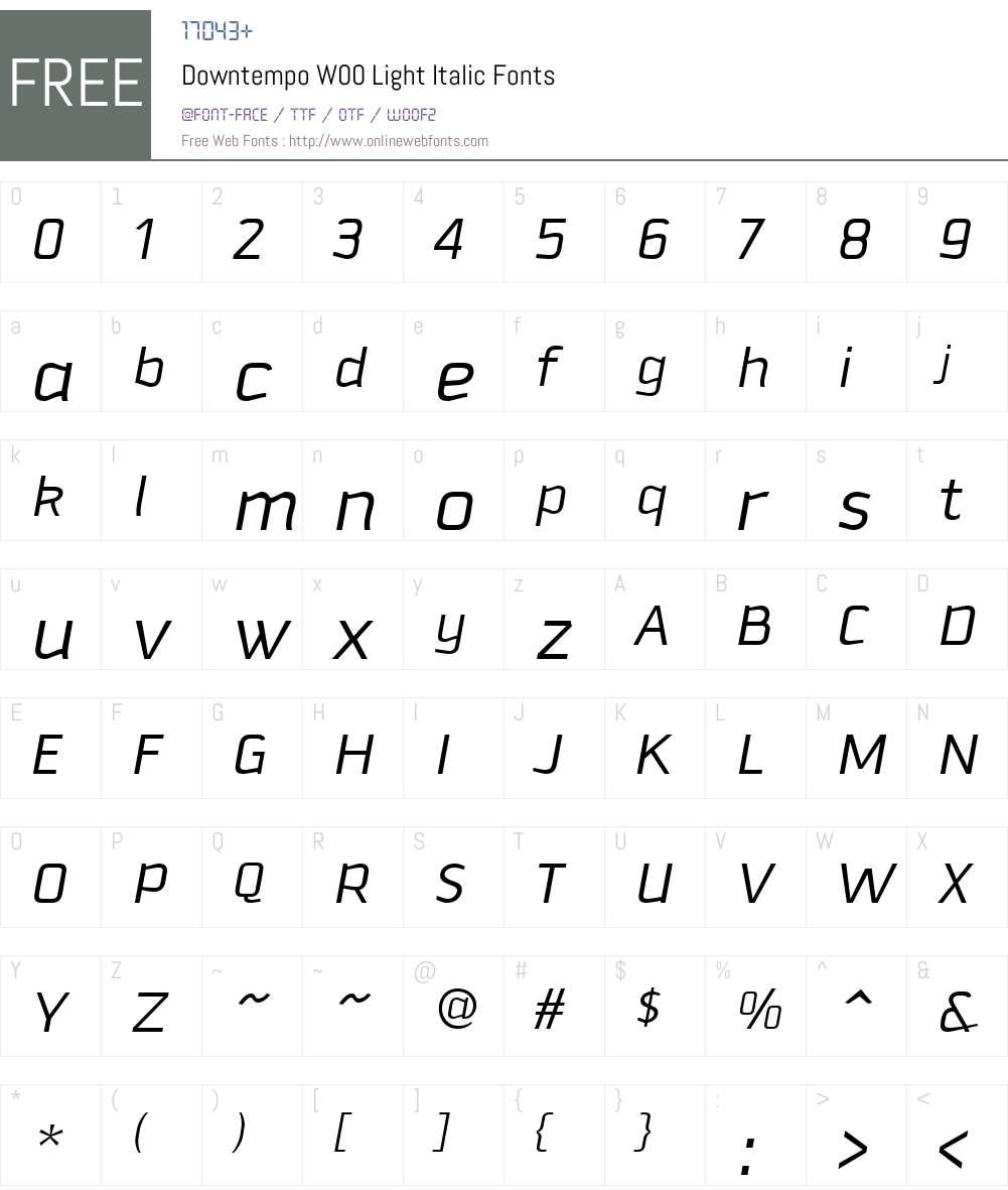 DowntempoW00-LightItalic Font Screenshots