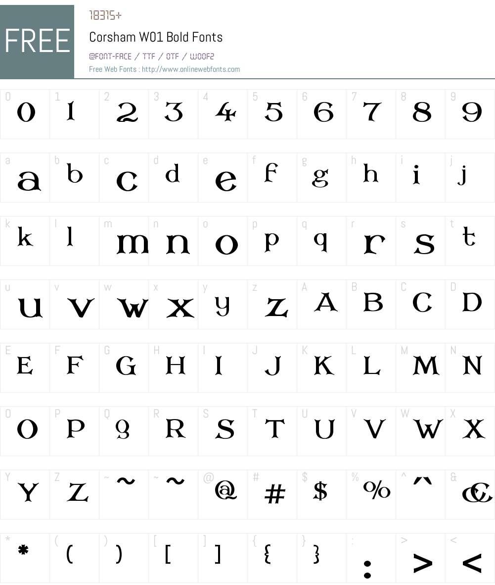 CorshamW01-Bold Font Screenshots