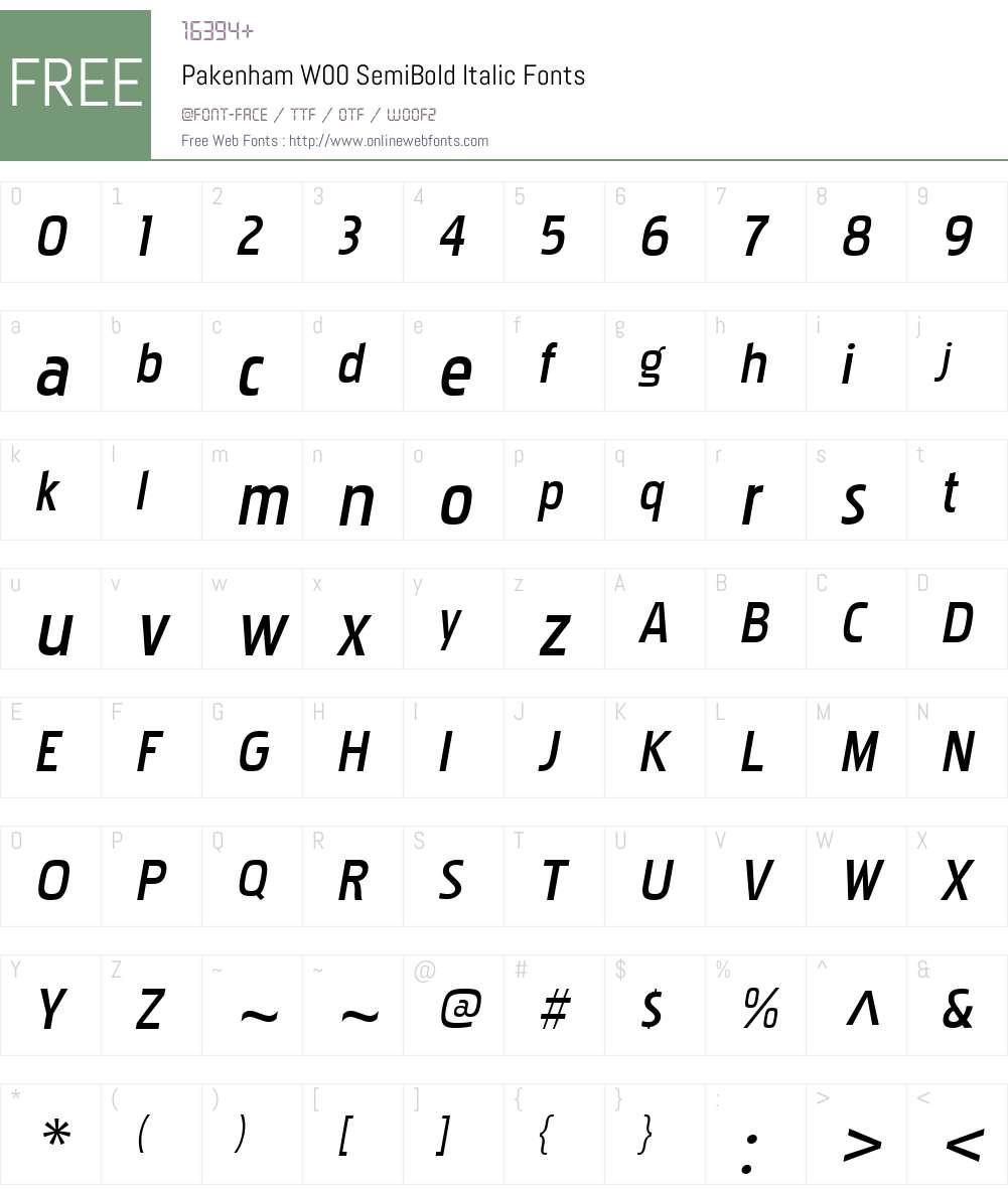 PakenhamW00-SemiBoldItalic Font Screenshots