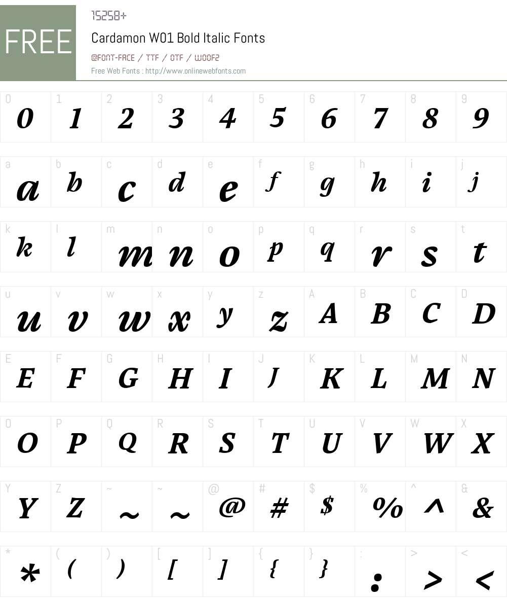 CardamonW01-BoldItalic Font Screenshots