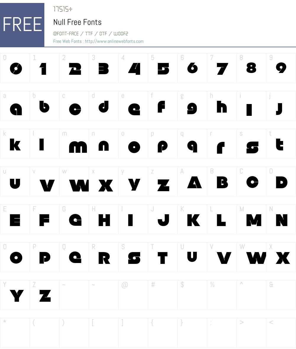 Null Free Font Screenshots