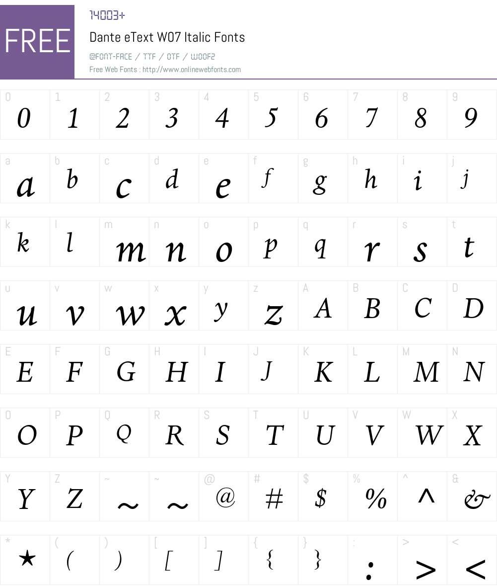 Dante eText Font Screenshots