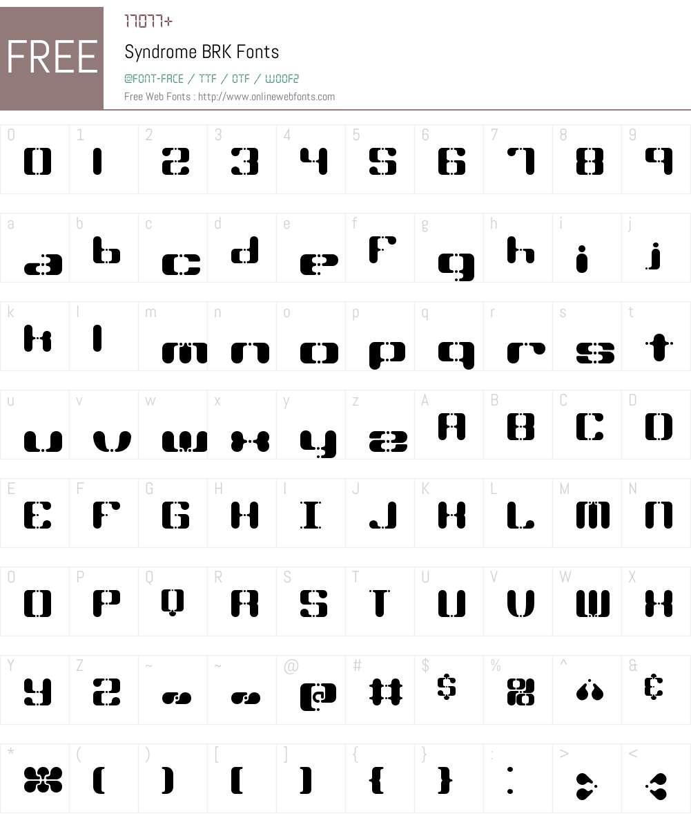 Syndrome BRK Font Screenshots