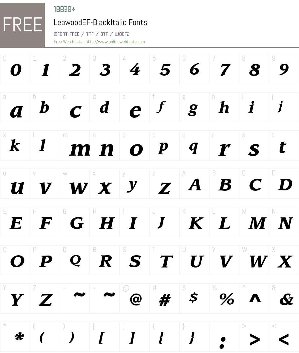 LeawoodEF-BlackItalic Font Screenshots