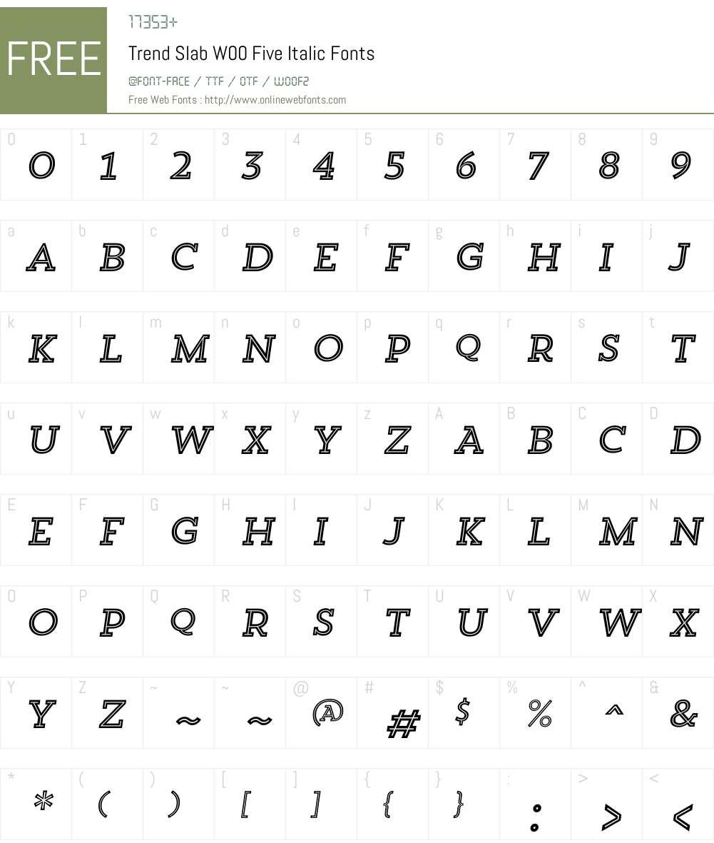 TrendSlabW00-FiveItalic Font Screenshots