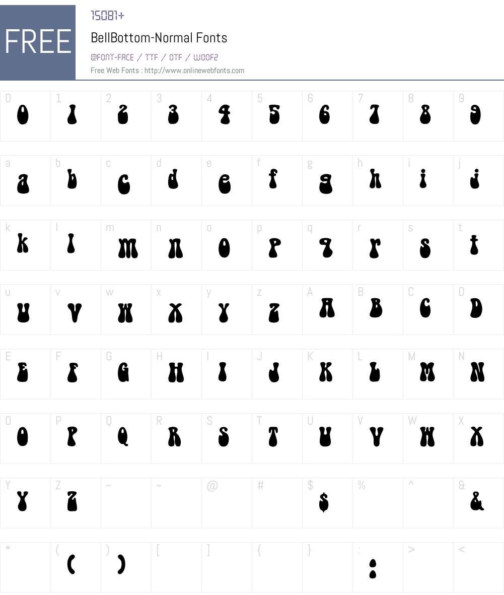 BellBottom-Normal Font Screenshots