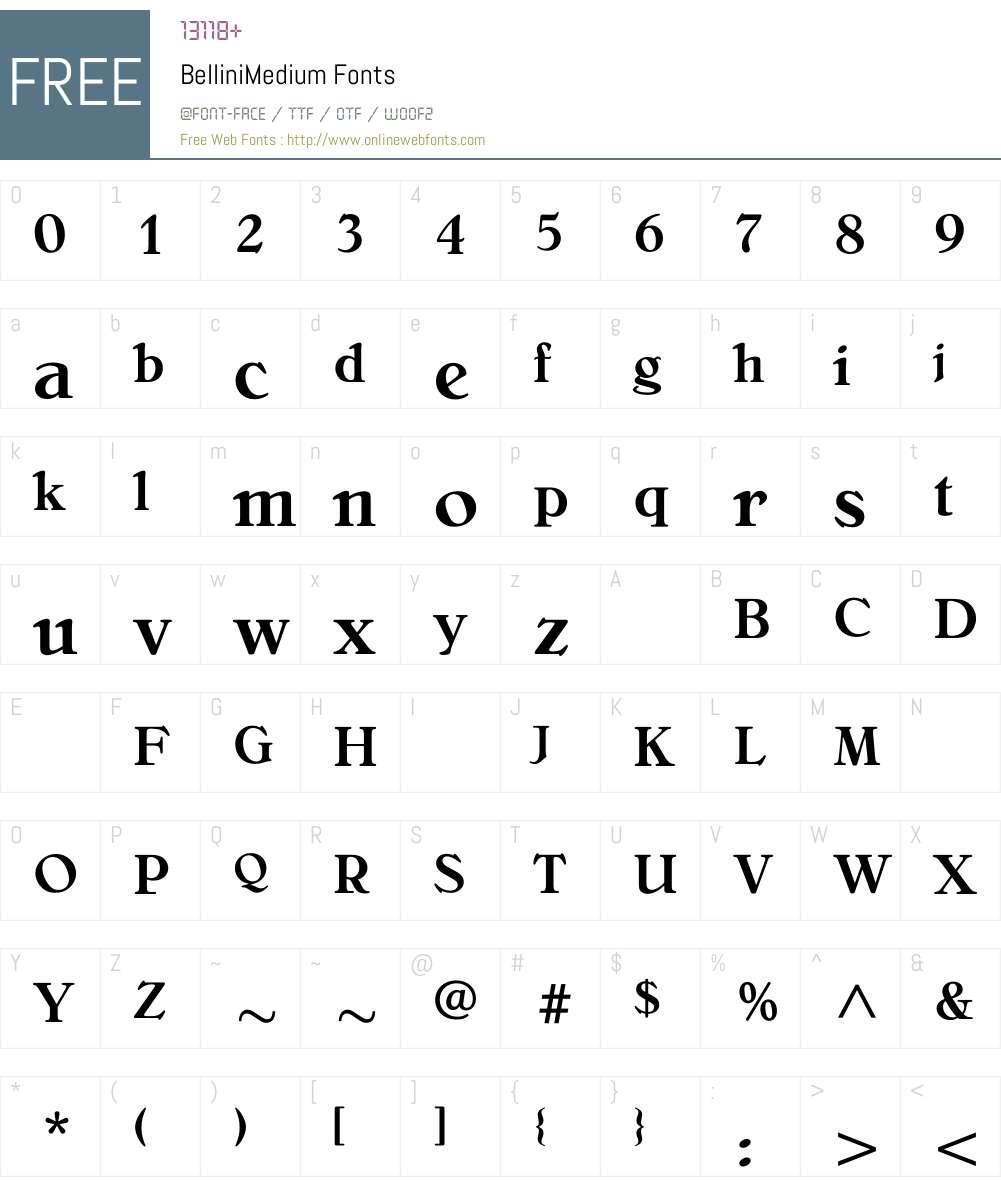BelliniMedium Font Screenshots