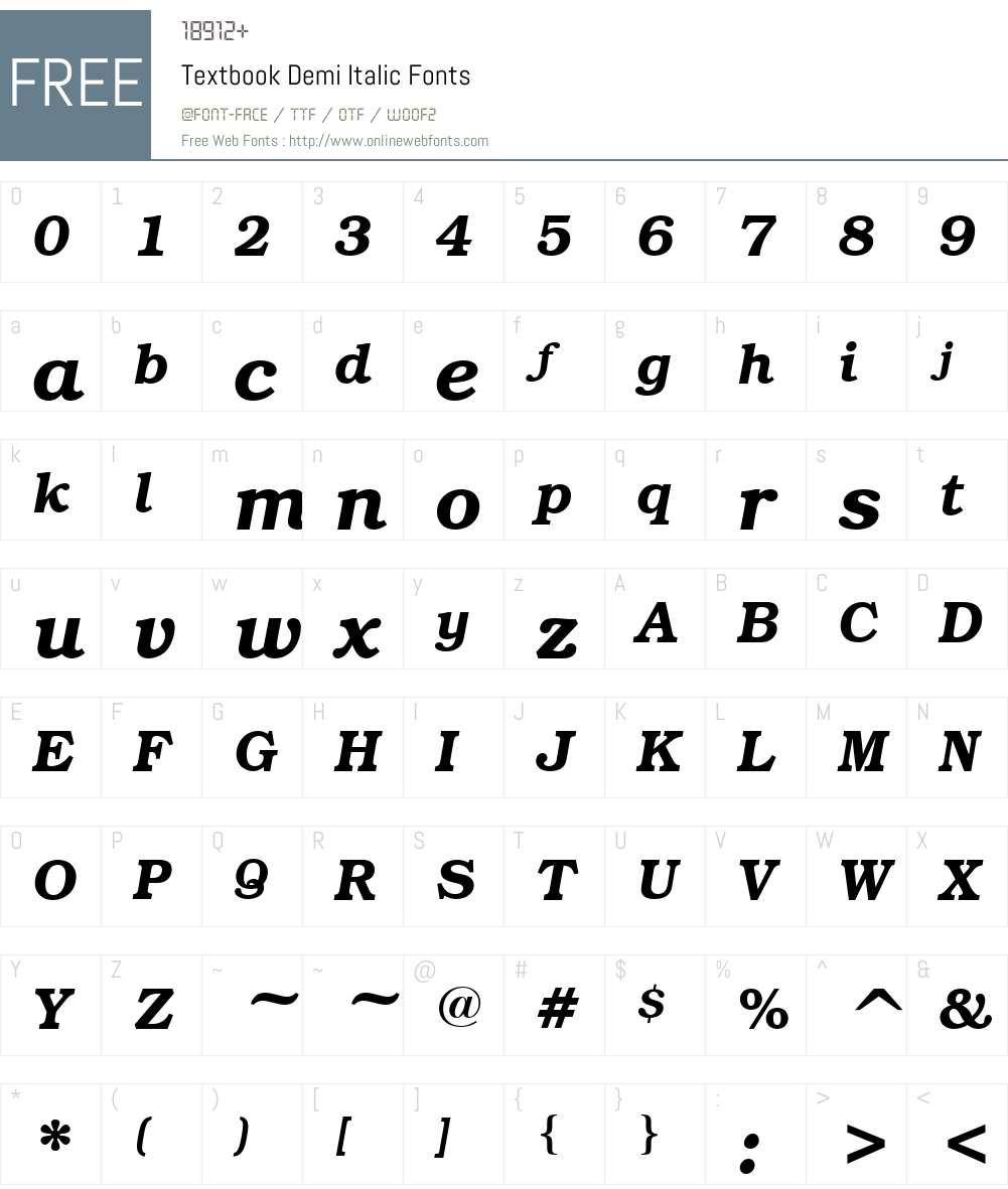 Textbook Font Screenshots