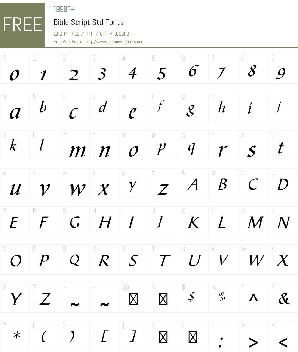Bible Script Std Font Screenshots