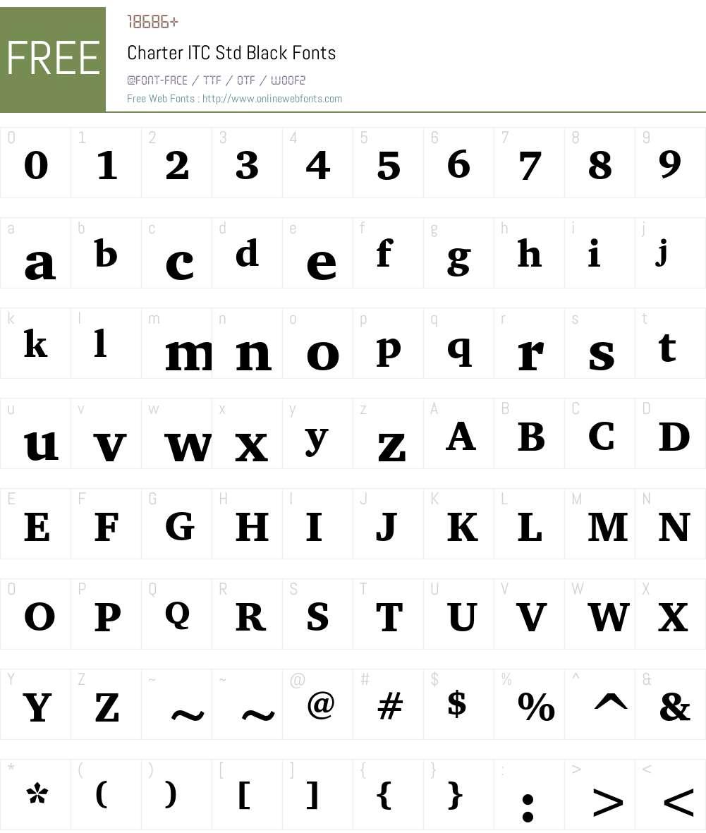 Charter ITC Std Font Screenshots