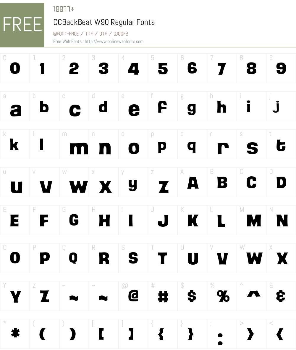 CCBackBeatW90-Regular Font Screenshots