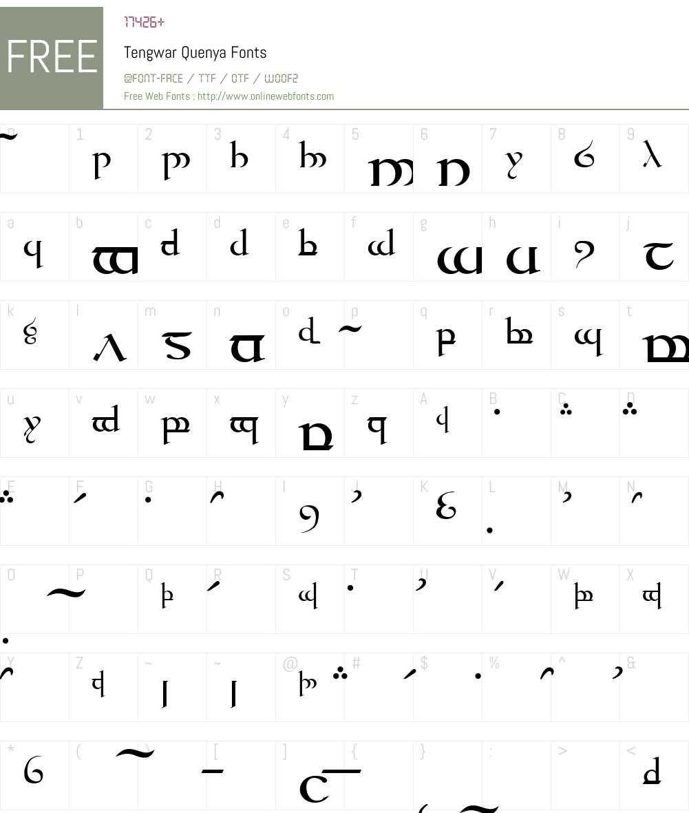 Tengwar Quenya Font Screenshots