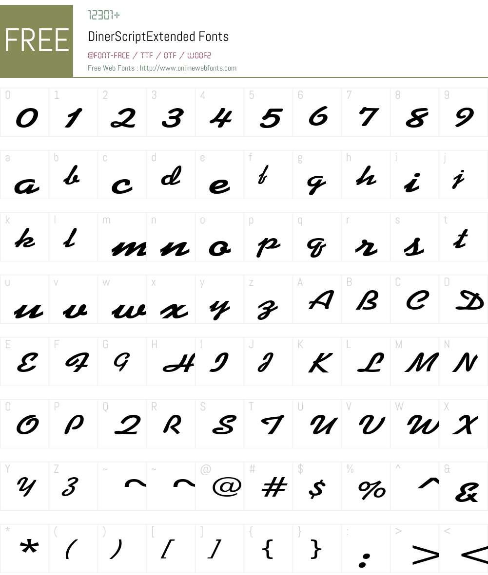 DinerScriptExtended Font Screenshots