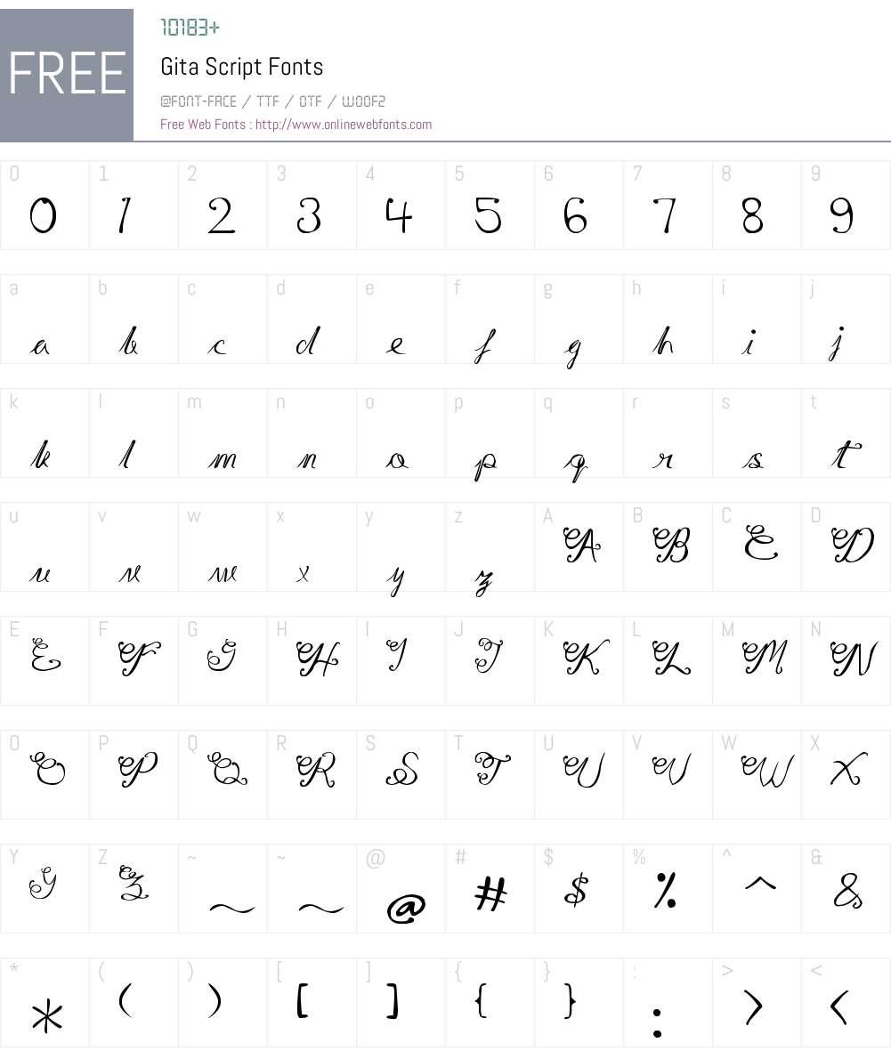Gita Script Font Screenshots