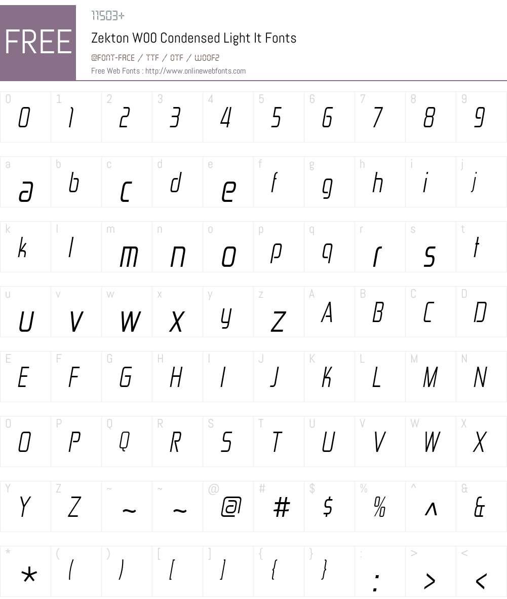 ZektonW00-CondensedLightIt Font Screenshots