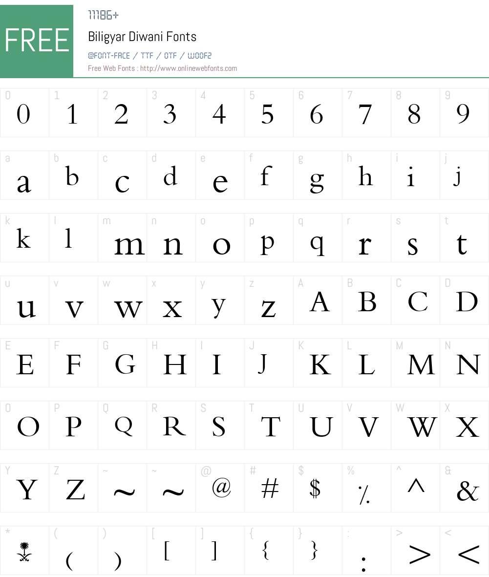 Biligyar Diwani Font Screenshots