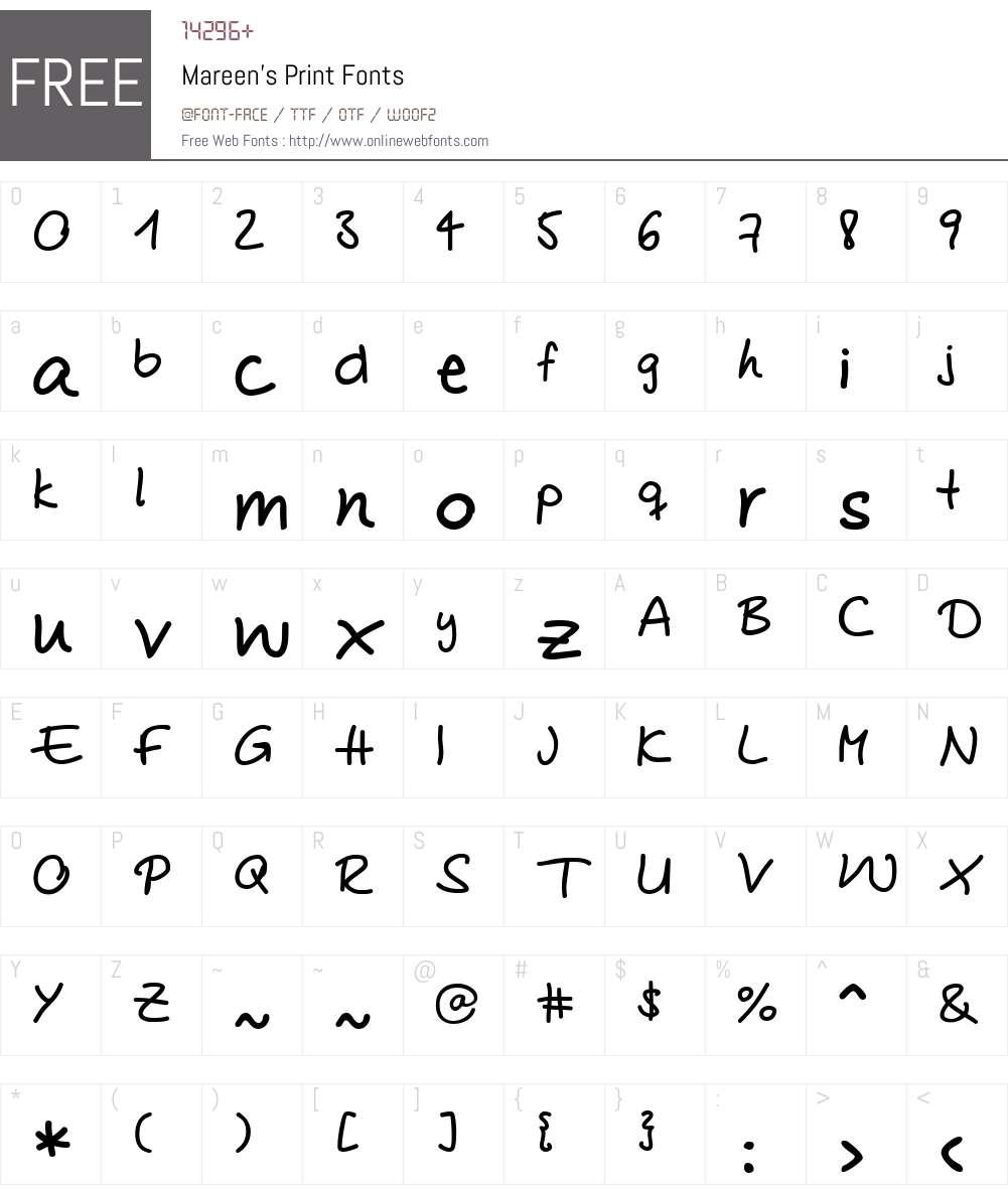 Mareen's Print Font Screenshots