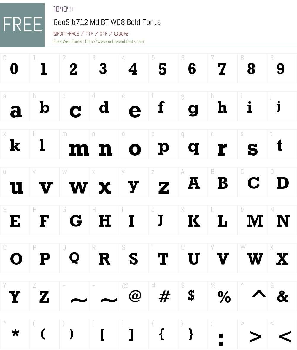 Geometric Slabserif 712 BT Font Screenshots