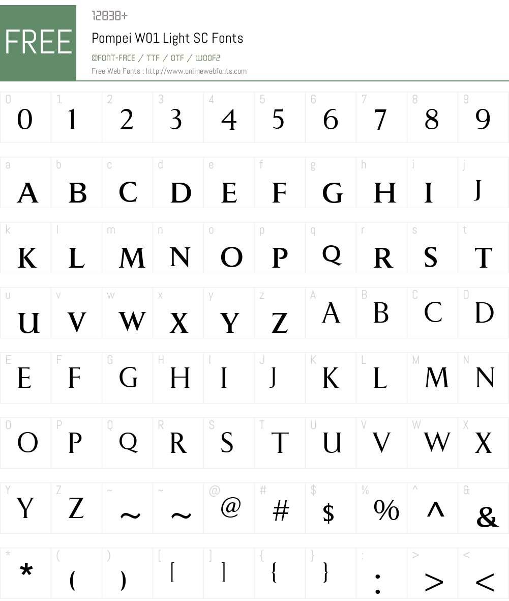 PompeiW01-LightSC Font Screenshots