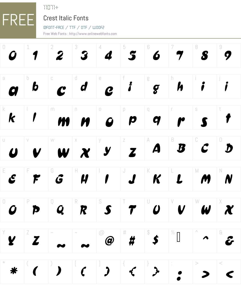 Crest Font Screenshots