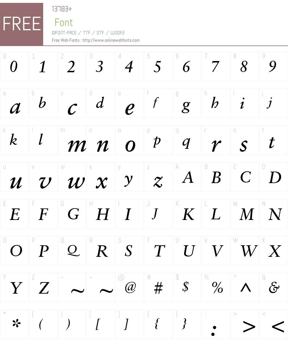 SabonETW01-Italic Font Screenshots