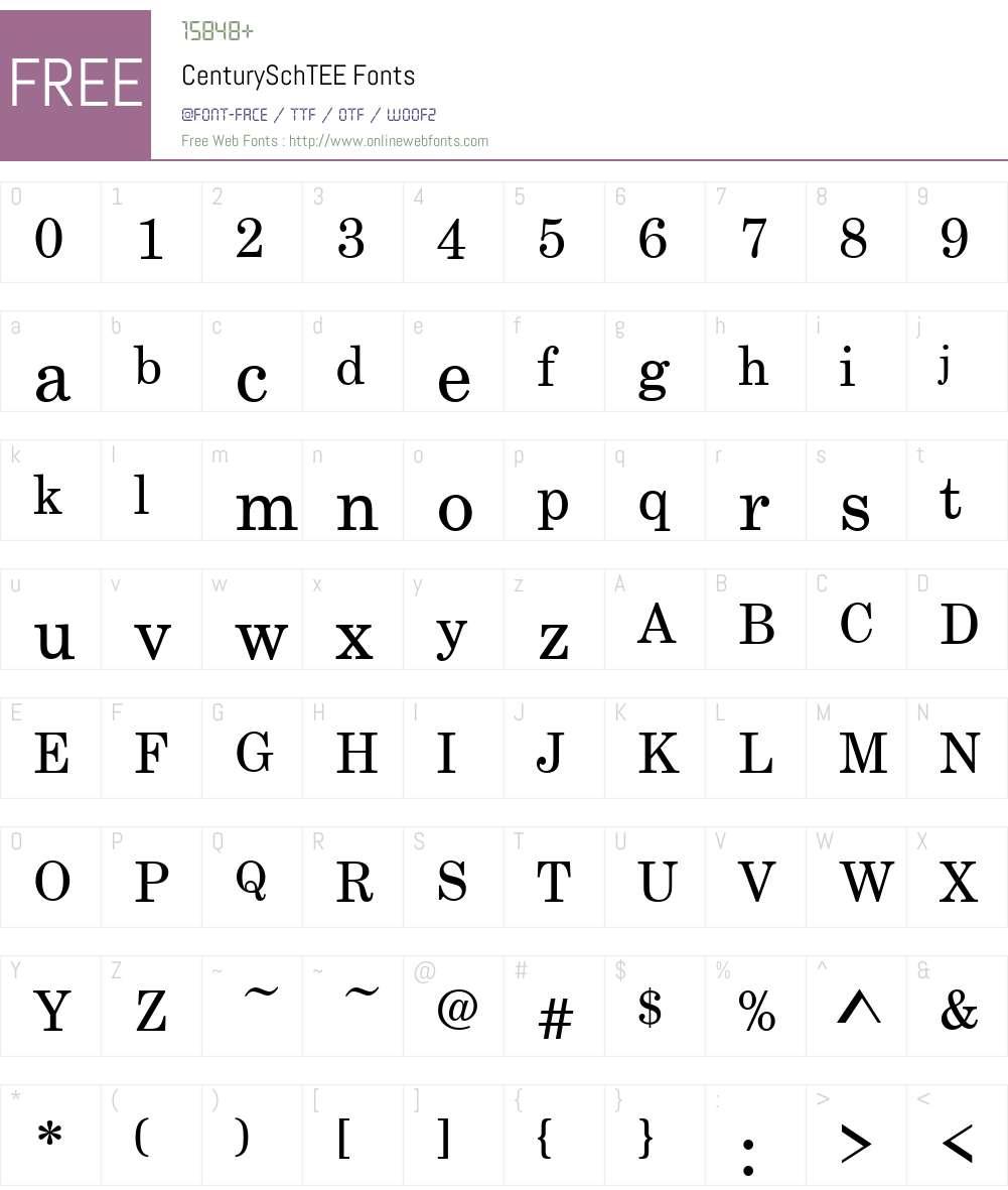 CenturySchTEE Font Screenshots