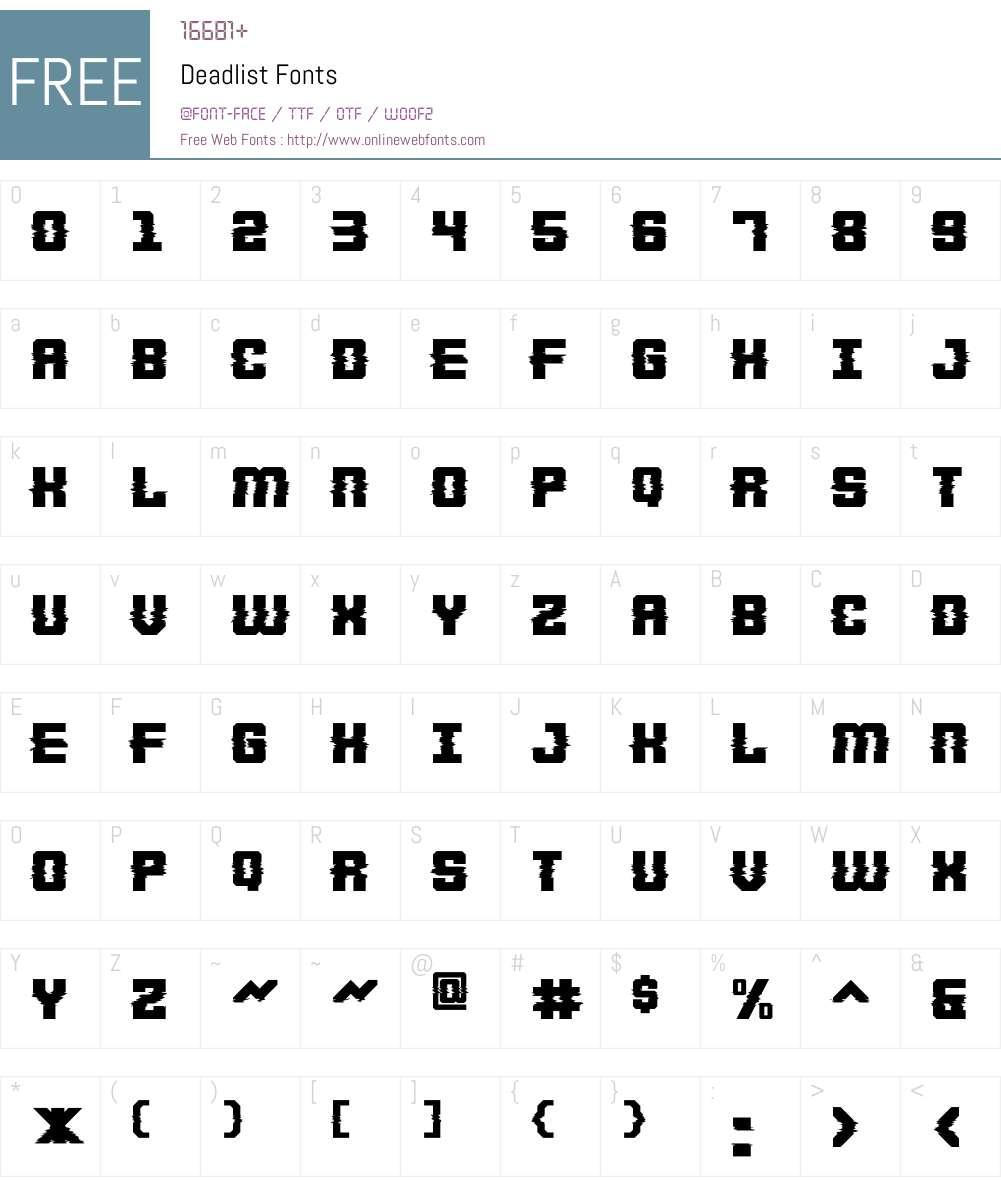 Deadlist Font Screenshots