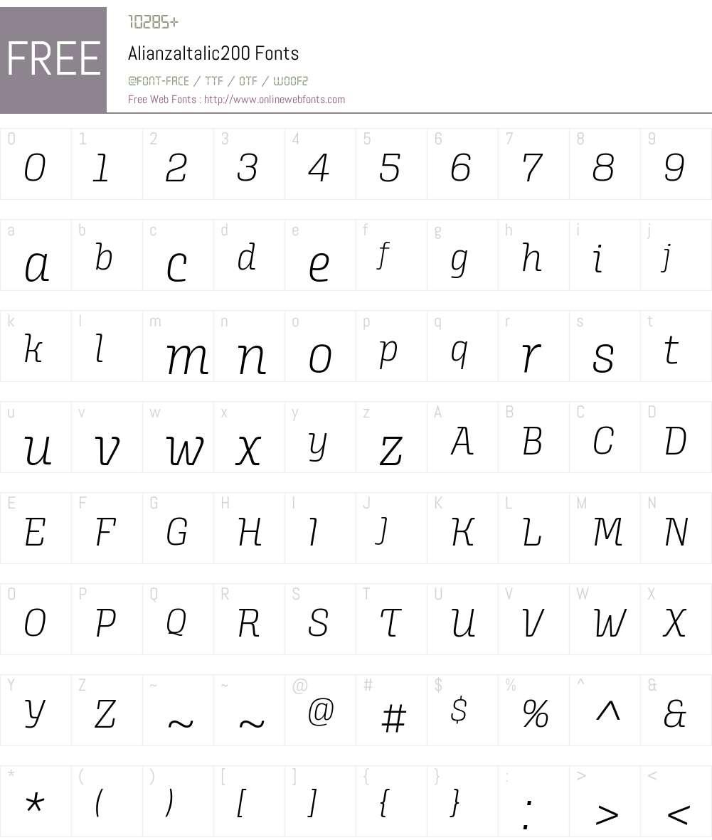 Alianza Italic 200 Font Screenshots