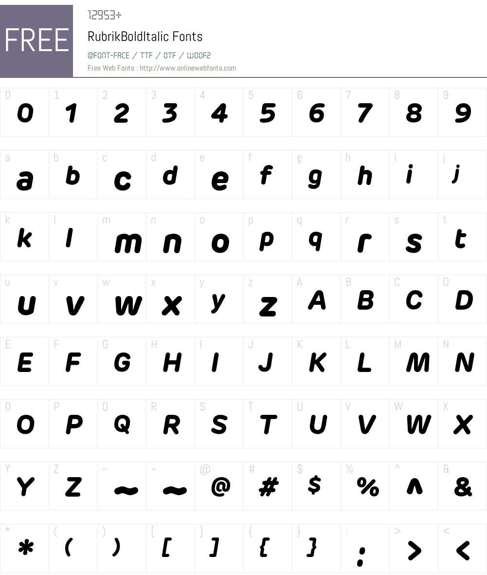 Rubrik Bold Italic Font Screenshots