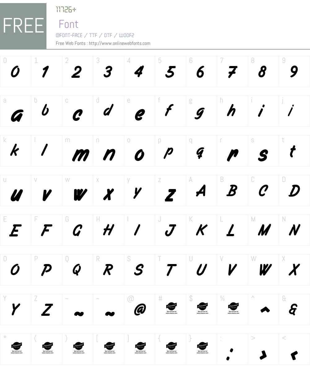 Filbert Brush PERSONAL USE ONLY Font Screenshots