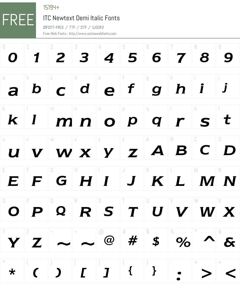 ITC Newtext Font Screenshots