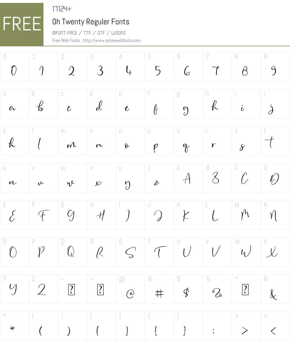 Oh Twenty Reguler Font Screenshots