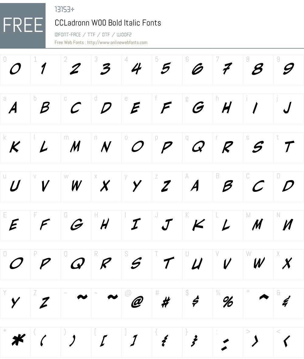 CCLadronnW00-BoldItalic Font Screenshots