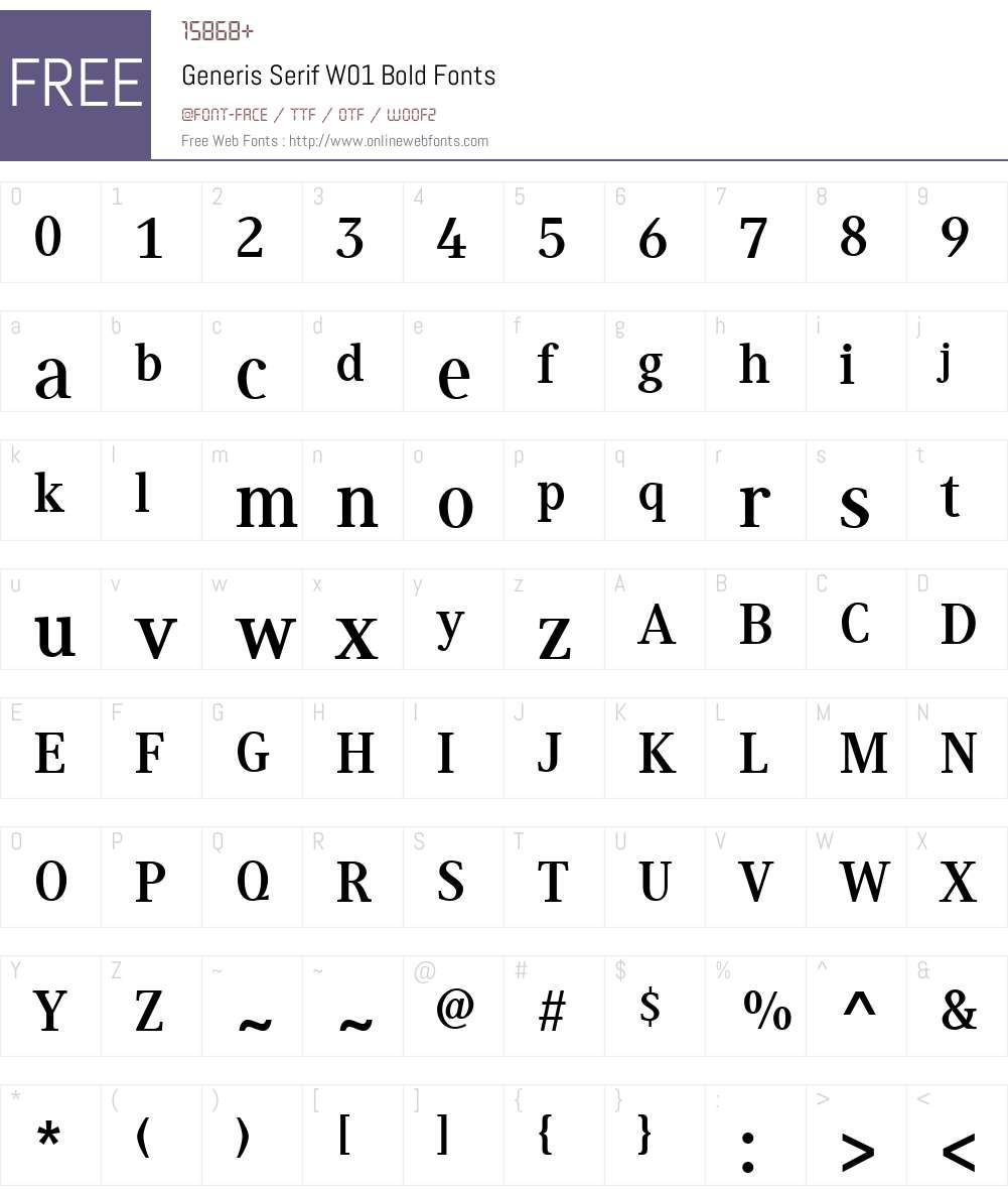 GenerisSerifW01-Bold Font Screenshots